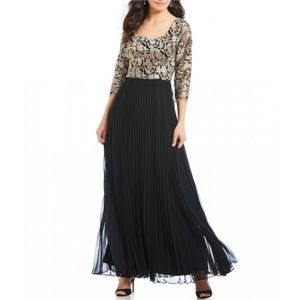 3/4 Sleeve Embroidered  Pleated Gown